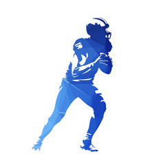 American football player, abstract geometric blue vector silhouette