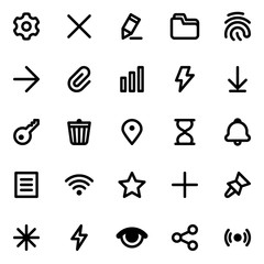 Simple web or mobile interface vector icons set. Isolated on white background