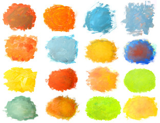 Set of colorful brushstroke stains isolated on white background. Hand painted gouache brushstroke painting.
