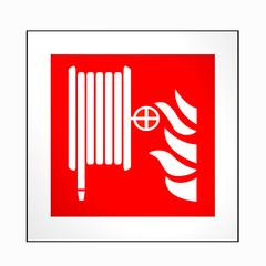 Brandschutzzeichen nach der aktuellen Form der ASR A1.3: Löschschlauch. 2d render
