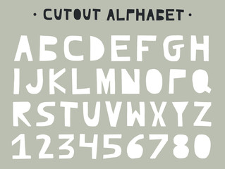 Cutout ABC - Latin alphabet. Unique handmade letters with folk art ornament in scandinavian style.