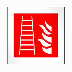 Brandschutzzeichen nach der aktuellen Form der ASR A1.3: Feuerleiter. 2d render