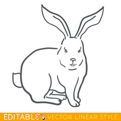 Rabbit zodiac sign. Bunny Chinese year. Calendar 2023. Editable line sketch icon. Stock vector illustration.