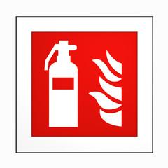 Brandschutzzeichen nach der aktuellen Form der ASR A1.3: Feuerlöscher. 2d render