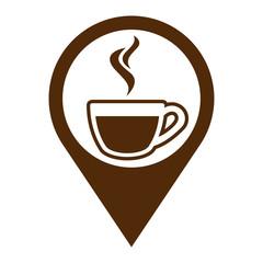 Icono plano localizacion taza cafe humeante marron