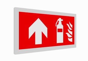 Brandschutzzeichen nach der aktuellen Form der ASR A1.3: Feuerlöscher geradeaus. 3d render