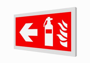 Brandschutzzeichen nach der aktuellen Form der ASR A1.3: Feuerlöscher links. 3d render