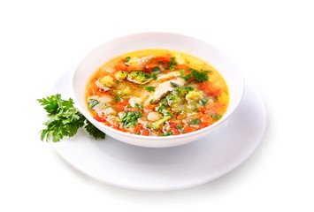 Vegetable chicken soup isolated.