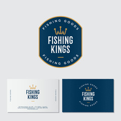 Fishing logo. Fishing or fishing equipment store logo. Fisher Club emblem. Fishing sport club. Hooks as a crown and letters. Identity. Business card.