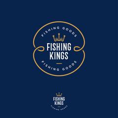 Fishing Kings logo. Fishing or fishing equipment store logo. Fisher Club emblem. Fishing sport club. Hooks as a crown and letters.