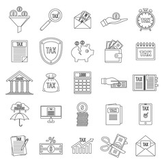 Taxes icons set. Outline illustration of 25 taxes vector icons for web