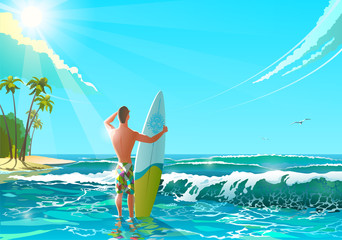 Ocean Beach  Illustration. Athletic man standing on the beach with surfboard. Funny character man