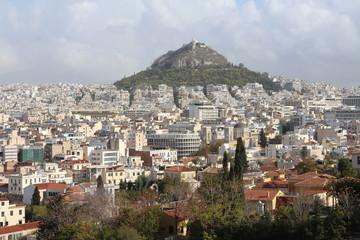 View to Athens metropola, in backround Lycabettus hill Athens, Greece