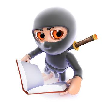 3d Funny cartoon ninja assassin reading a book