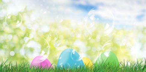 Easter eggs on green grasland meadow