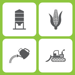 Vector Illustration Set Of Simple Farm and Garden Icons. Elements Granary, Corn, watering can, bulldozer