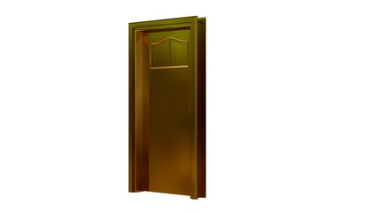 3d rendering of a golden door isolated on white