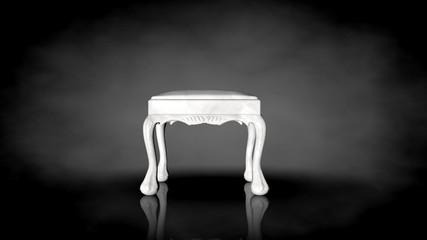 3d rendering of a white chair on a black background