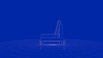 3d rendering of an outline chair object