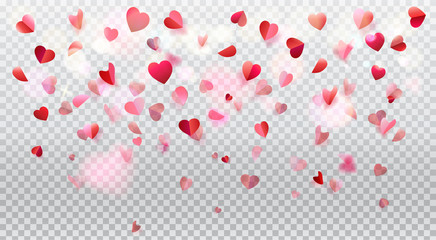 Happy Valentines Day romance background with heart shapes blurred confetti rose petals, flying, red pink color transparent bokeh lights vector decoration.