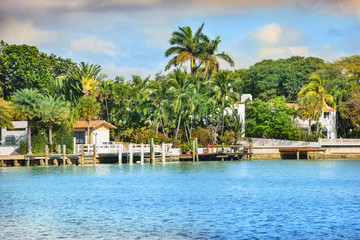Cityscape of Miami, located near Miami Beach, Florida, USA.