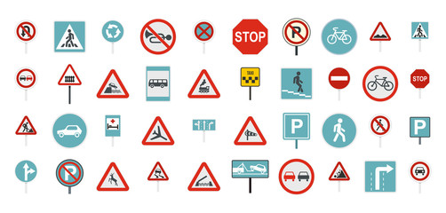 Road sign icon set, flat style