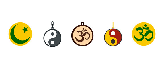 Religion sign icon set, flat style