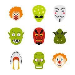 Mask icon set, flat style