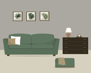 Living room with a green sofa. Pictures with tropical plants in the interior. There is also a curbstone with a lamp and a clock in the picture. Vector illustration.