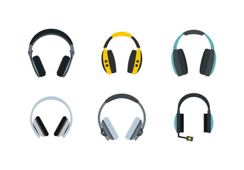 Headphones icon set, flat style