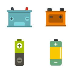 Battery icon set, flat style