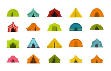 Tent icon set, flat style
