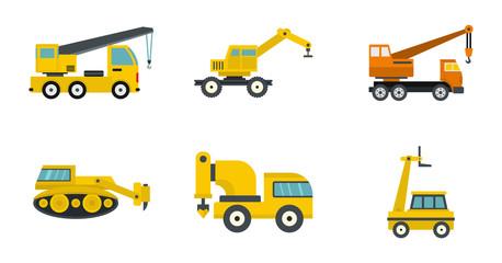 Construction vehicle icon set, flat style