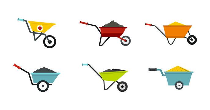 One wheel barrow icon set, flat style