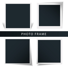 Collection of the concept of rotation of the retro photo frame isolated in a white background.