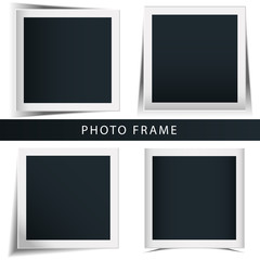 Collection of the concept of rotation of the retro photo frame isolated white background.