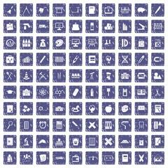 100 pensil icons set grunge sapphire