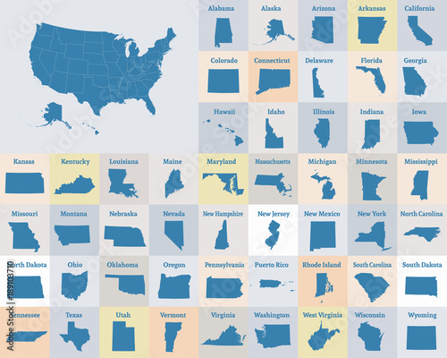 Outline map of the United States of America. States of the USA ...