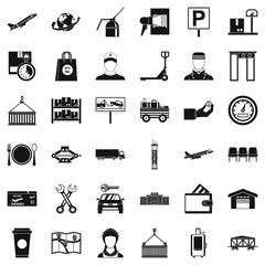 Storage icons set, simple style