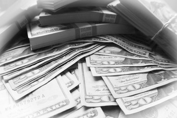 Investment Profits In Black & White With White Frame Stock Photo