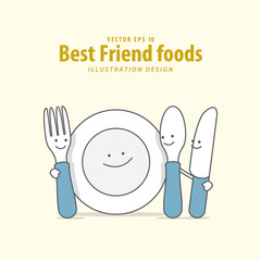 Cartoon character of Fork, Plate, Spoon, Knife illustration vector on pale yellow background. Best friend foods concept.
