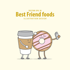 Cartoon character of Coffee, Donut illustration vector on pale yellow background. Best friend foods concept.
