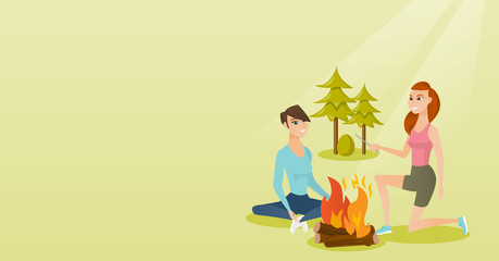 Two caucasian white happy friends sitting near bonfire in the camping. Young friends relaxing near bonfire in the forest. Concept of travel and tourism. Vector cartoon illustration. Horizontal layout.