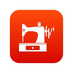 Sewing machine icon digital red