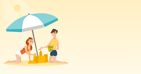 Cheerful caucasian women making a sand castle on the beach under beach umbrella. Happy friends building a sandcastle. Tourism and beach holiday concept. Vector cartoon illustration. Horizontal layout.