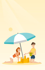 Cheerful caucasian women making a sand castle on the beach under beach umbrella. Smiling friends building a sandcastle. Tourism and beach holiday concept. Vector cartoon illustration. Vertical layout.