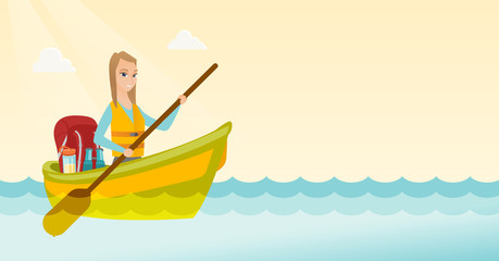 Young caucasian white traveler woman riding a kayak on the river. Cheerful traveler woman traveling by kayak. Concept of travel and tourism. Vector cartoon illustration. Horizontal layout.