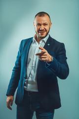 Headshot of successful smiling cheerful american businessman executive stylish company leader
