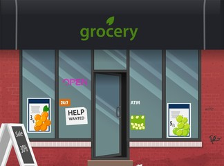 Grocery store facade. Stylish street shop exterior design. Flat style vector illustration.