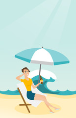 Young caucasian white woman sitting on a chaise-longue on the beach. Happy smiling woman relaxing on a chaise-longue and drinking beer. Vector cartoon illustration. Vertical layout.